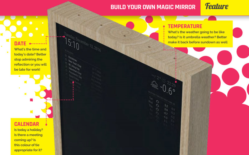 Illustration for article titled Este espejo con Raspberry Pi que muestra el tiempo y las noticias solo necesita una línea de código