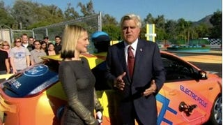 """Illustration for article titled VIDEO: Drew Barrymore In Jay Leno's Reasonably-Priced Electric Ford Focus """"Race Car"""""""
