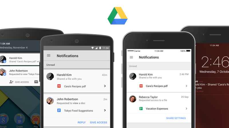 Illustration for article titled Google Drive Now Sends Sharing Notifications on Mobile