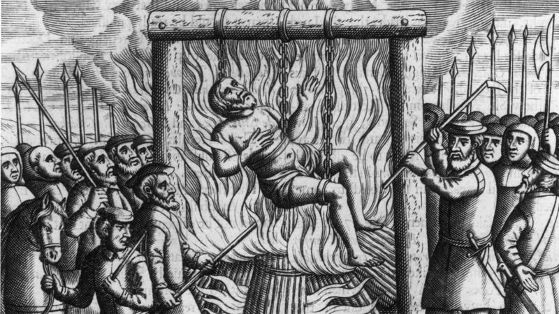 Sir John Oldcastle being burnt alive in 1417. (Photo: Hulton Archive/Getty Images)