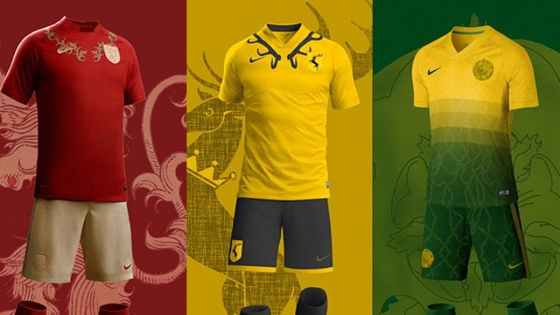 Illustration for article titled Imagine a Seven Kingdoms World Cup with Game Of Thrones soccer uniforms