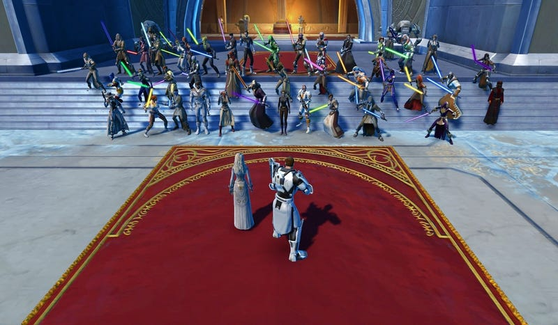Players gather at House Organa in Star Wars: The Old Republic. Screenshot by rakaur/Reddit