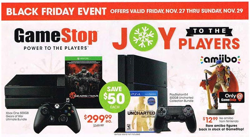 Illustration for article titled GameStop's 2015 Black Friday Deals Have Leaked, Of Course