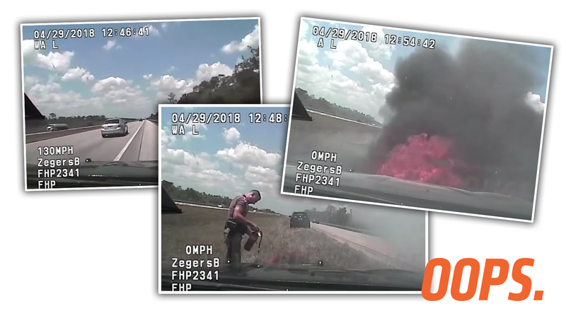 Illustration for article titled Cop Passes on Shoulder at 130 MPH, Tells Camera 'Don't Try This At Home Kids,' Catches Fire