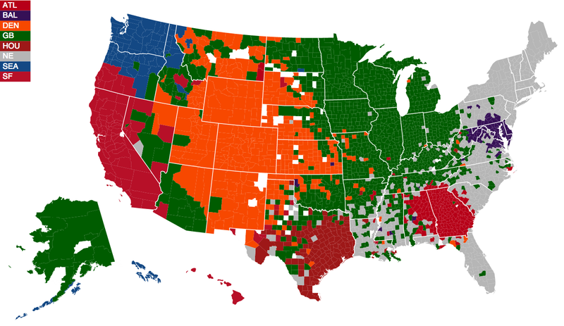 Facebook Data Provide The Most Accurate NFL Fandom Map Ever Created - Us map in regions