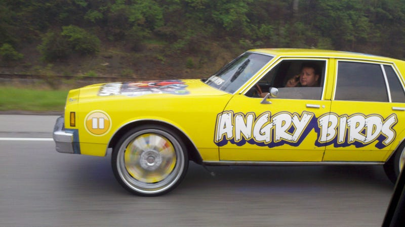 Spotted On An Ohio Freeway This Heavily Customized Angry Birds Themed Car Is Either A Great Meta Commentary On Distracted Driving Or Merely The Most