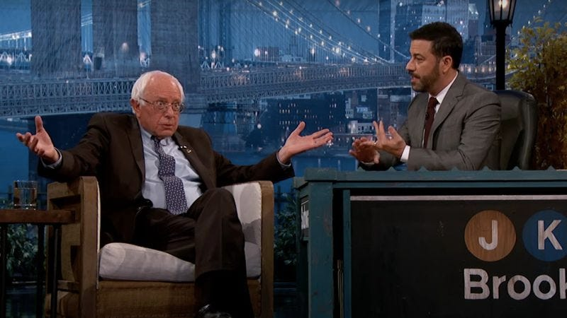 Illustration for article titled Kimmel to interview Bernie Sanders tomorrow, Hillary Clinton on Thursday