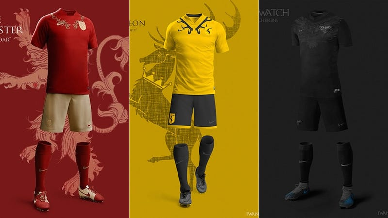 Illustration for article titled Great Game of Thrones Soccer Uniforms Prove We Need A Westeros World Cup