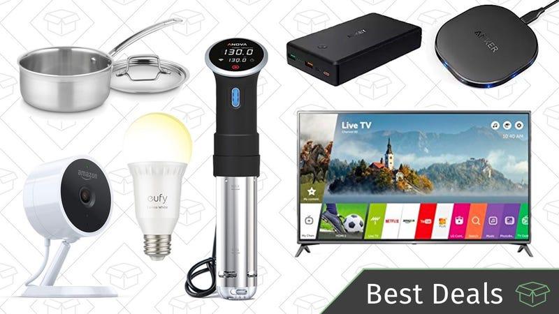 Illustration for article titled Monday's Best Deals: LG 4K TV, Sous Vide Circulator, Smart Light Bulbs, and More