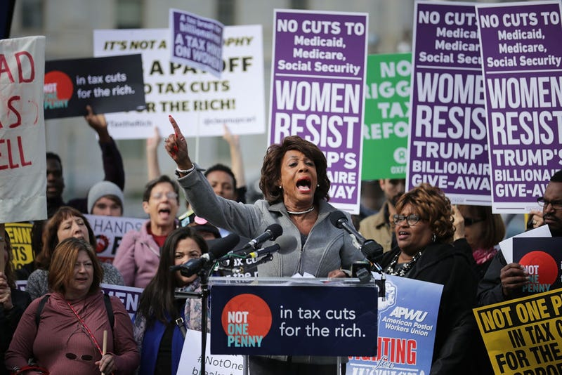Rep. Maxine Waters (D-Calif.) outside the U.S. Capitol addressing a November 2017 rally against the Republican tax plan
