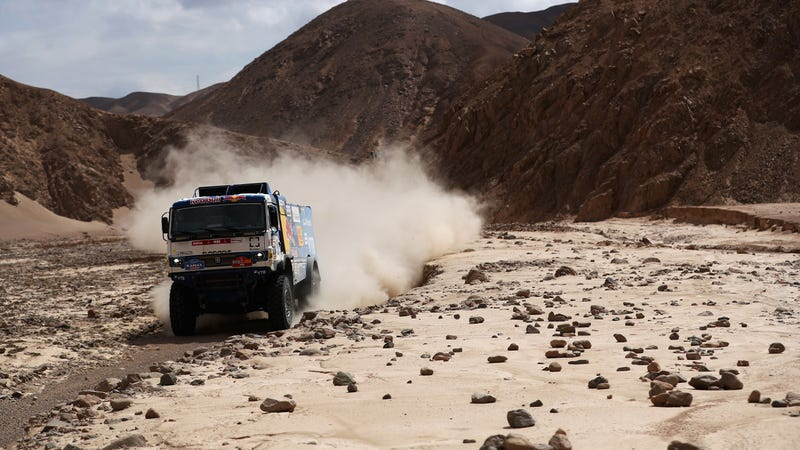 The Kamaz truck of Andrey Karginov, Andrey Mokeev and Igor Leonov during the fourth stage of the Dakar Rally.