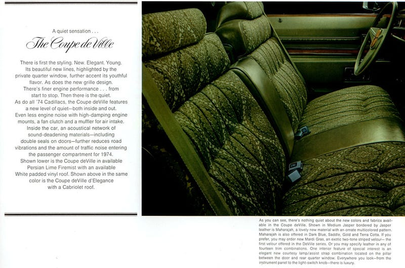 Illustration for article titled The 74 Caddy Maharajah cloth might make the best interior ever