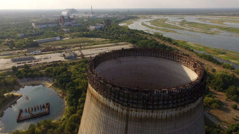 A view of an abandoned cooling tower in Chernobyl, Ukraine on August 19, 2017. Photo: Getty Images