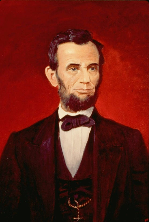 A portrait of President Abraham Lincoln by President Dwight D. Eisenhower, who loved to paint (AP Images)