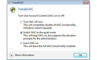 Illustration for article titled Disable Vista's User Account Control with TweakUAC
