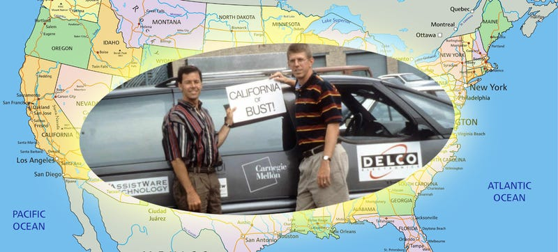 Illustration for article titled They Drove Cross-Country In An Autonomous Minivan Without GPS. In 1995.