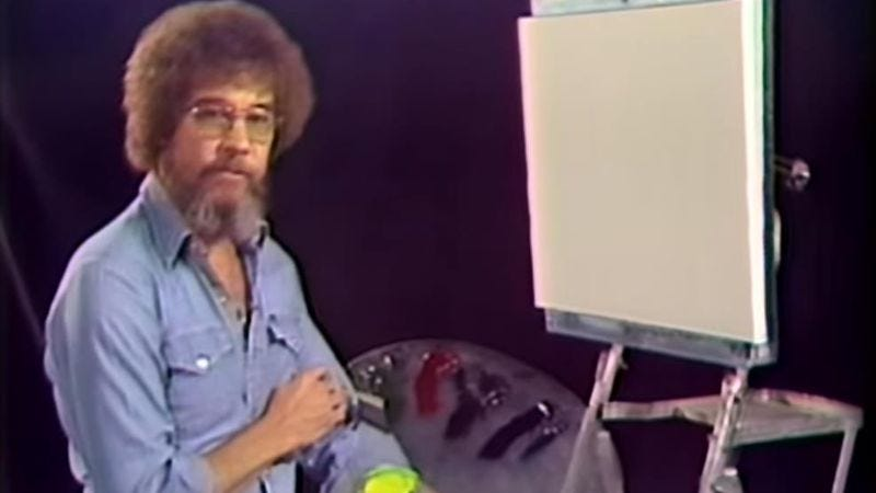 Illustration for article titled Get a glimpse at the origins of painter Bob Ross and his world of happy little trees