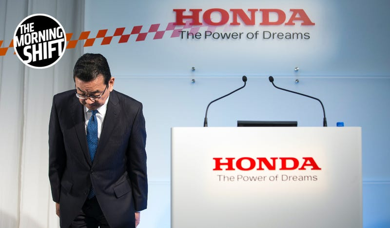 Honda Motor Co. President Takahiro Hachigo bows as he arrives for a press conference on February 19, 2019 in Tokyo, Japan. Honda announced on Tuesday the company plans to close its factory in Swindon, U.K. in 2021 putting 3,500 jobs at risk.