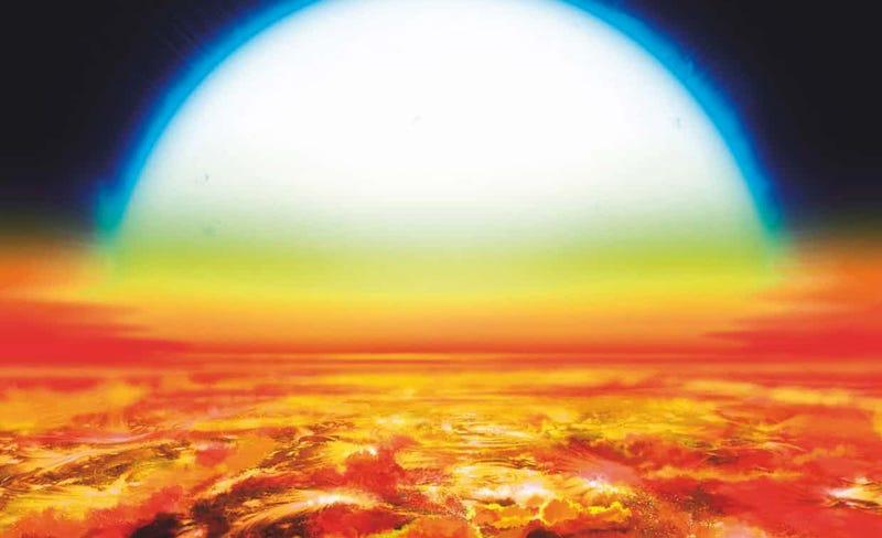 Interprtetación artística de la superficie de KELT-9b, con su estrella al fondo