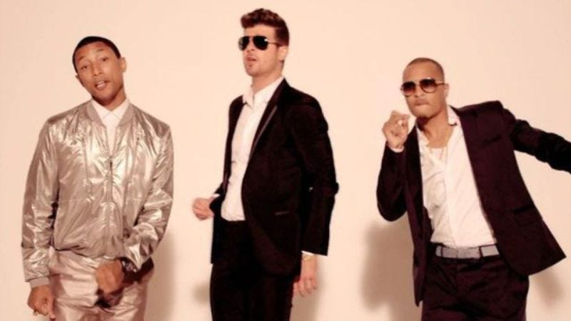 """Illustration for article titled Robin Thicke, Pharrell ordered to pay $7.3 million in """"Blurred Lines"""" verdict"""