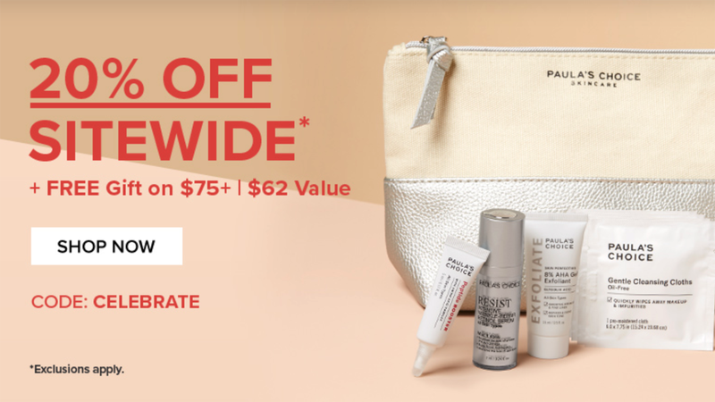 20% Off Sitewide, Plus Free Limited Edition Bundle on Orders of $75+ and Bonus Primer Serum on Orders of $99+ | Paula's Choice | Promo code CELEBRATE