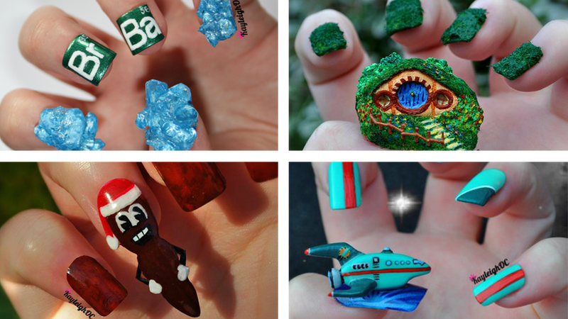 Crazy impressive nail art inspired by south park pokmon and more kayleigh oconnor turned a bad habit into a good one when she realized she could actually design the fake nails she glued on to prevent herself from biting prinsesfo Image collections