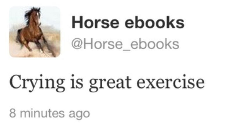"Illustration for article titled Everything on the Internet is a lie: @Horse_ebooks was a ""conceptual art"" piece all along"