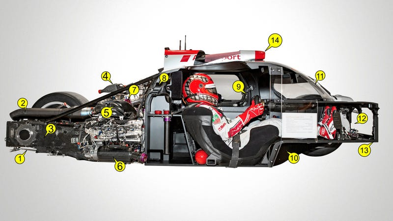 Illustration for article titled Under the carbon fiber: Race anatomy of the Audi R18 e-tron