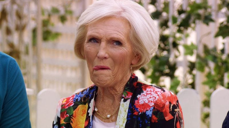 Departing judge Mary Berry, thinking about soggy bottoms (Screenshot: YouTube)
