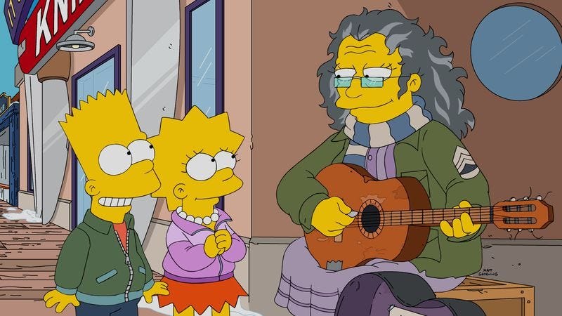 Illustration for article titled Bart and Lisa's musical friend finds a note of sweet silliness on The Simpsons