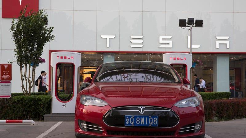 Tesla outside showroom in Beijing, China