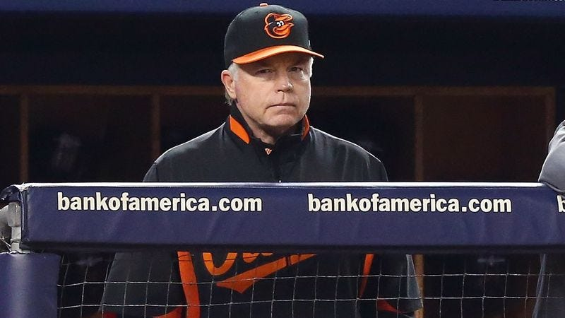 Illustration for article titled Buck Showalter Terrified To Walk Alone To Mound At Night