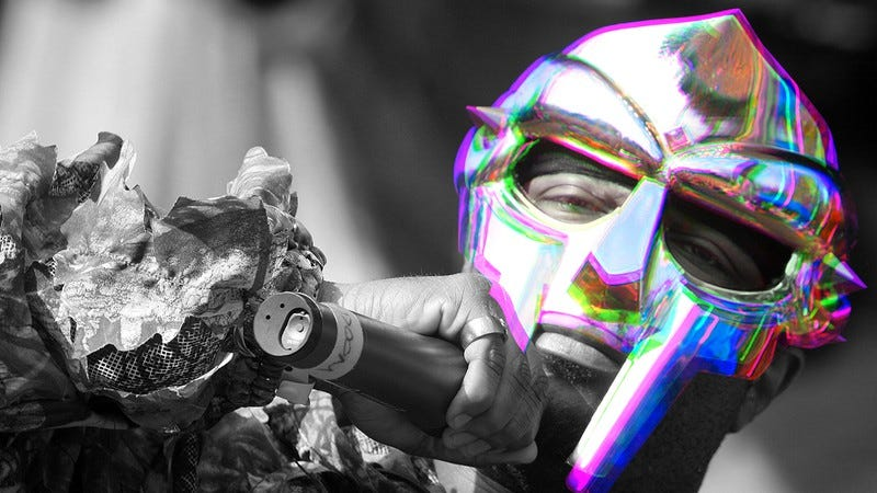 MF Doom at Pitchfork Music Festival in 2009 (Photo: Roger Kisby/Getty Images. Graphic: Nicole Antonuccio)