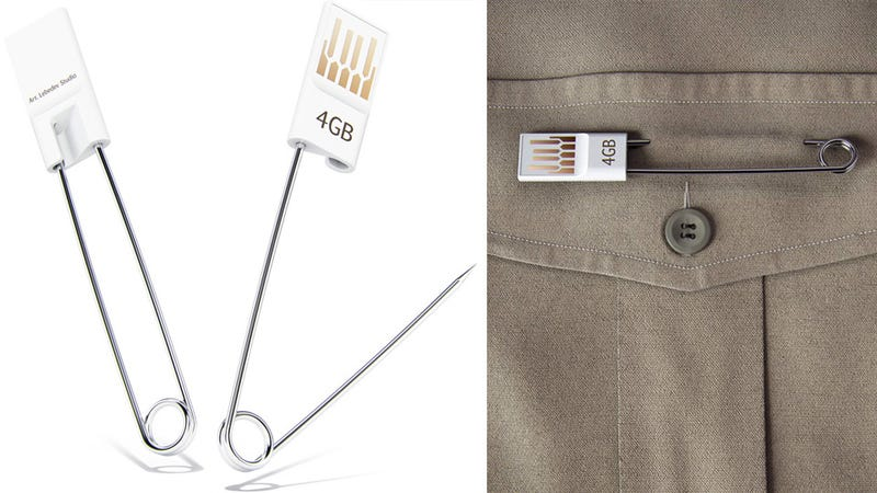 Illustration for article titled Safety Pin Flash Drive Makes an I-Always-Lose-Things Fashion Statement