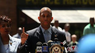 Reps. Hakeem Jeffries and Yvette Clarke speak in front of 1 Police Plaza Aug. 14, 2014, in New York City, to demand federal intervention in response to the death by police choke hold of Eric Garner, a 43-year-old man from Staten Island, N.Y.Spencer Platt/Getty Images