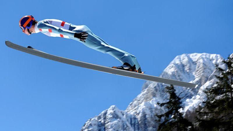 Illustration for article titled Ski Jumper Has To Work On His Soaring