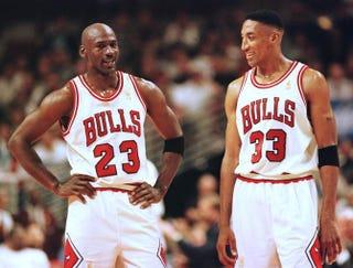 Michael Jordan and Scottie PippenVINCENT LAFORET/AFP/Getty Images