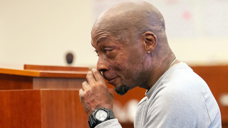 Plaintiff Dewayne Johnson reacts after hearing the verdict in his case against Monsanto at the Superior Court of California in San Francisco on Friday, Aug. 10, 2018. A San Francisco jury on Friday ordered agribusiness giant Monsanto to pay $289 million to the former school groundskeeper dying of cancer, saying the company's popular Roundup weed killer contributed to his disease