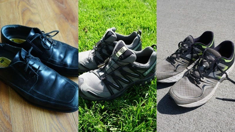From left to right: my  dressy travel shoes, my rugged/outdoor travel shoes, and my urban travel shoes.