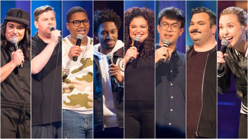 The Comedy Lineup's first lineup, from left: Sabrina Jalees, Tim Dillon, Sam Jay, Jak Knight, Michelle Buteau, Phil Wang, Ian Karmel, Taylor Tomlinson