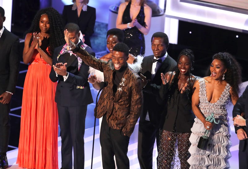 The cast of Black Panther accepts Outstanding Performance by a Cast in a Motion Picture, onstage during the 25th Annual Screen Actors Guild Awards on January 27, 2019 in Los Angeles, California.
