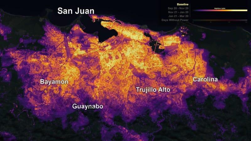 The night lights of San Juan, Puerto Rico before Hurricane Maria.