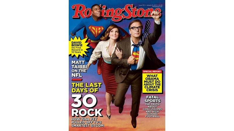 Illustration for article titled WTF: Rolling Stone Cover Casts 30 Rock Men as Superheroes, Tina Fey as Damsel in Distress