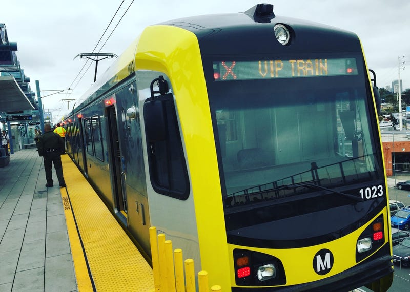 An Expo Line train filled with passengers headed west to Santa Monica for the first time today. Image: Alissa Walker