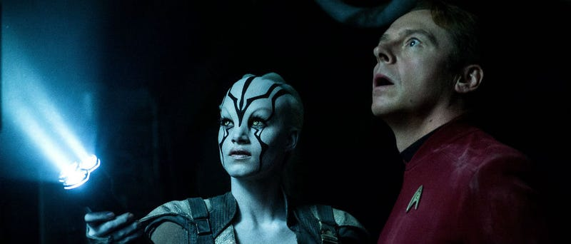 Jaylah, played by Sofia Boutella and Scotty, played by Simon Pegg, in Star Trek Beyond. (Image: Paramount Pictures)