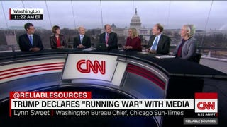 An all-white panel discussed President Donald J. Trump and the media on CNN's Reliable Sources on Sunday. From left, Frank Sesno, former CNN White House correspondent and now director of the School of Media & Public Affairs at George Washington University; Karen Tumulty of the Washington Post; Jeff Mason of Reuters, president of the White House Correspondents' Association; host Brian Stelter; Lynn Sweet, Chicago Sun-Times Washington bureau chief; Michael Oreskes, senior vice president of news and editorial director at NPR; and Martha Kumar, director of the White House transition project. (CNN)