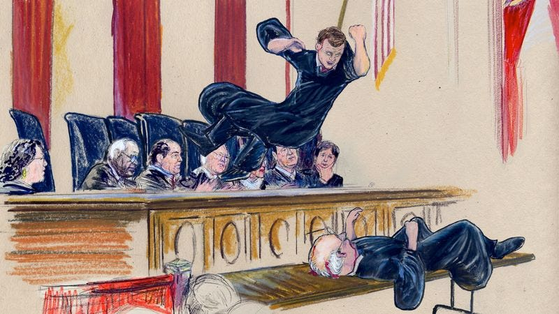 Illustration for article titled John Roberts Delivers Finishing Blow To Stephen Breyer To Defend Title Of Chief Justice