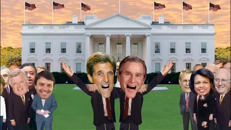 Illustration for article titled This Chilling Video Of George W. Bush And John Kerry Singing 'This Land Is Your Land' Shows How Easy It Is To Use Digital Facial Mapping To Fake Anyone Doing Anything