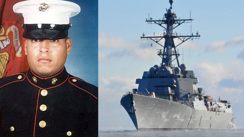 Right: USS Rafael Peralta (DDG 115) returns to Bath, Maine after going to sea for the first time. US Navy Photo. Left: Marine Corps Sgt. Rafael Peralta.