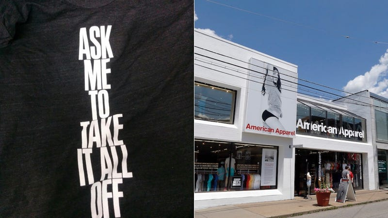 Illustration for article titled American Apparel Encouraged Employees to Wear 'Ask Me to Take It All Off' Shirt on Black Friday [Updated]